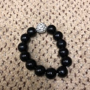Crystal and black bead bracelet